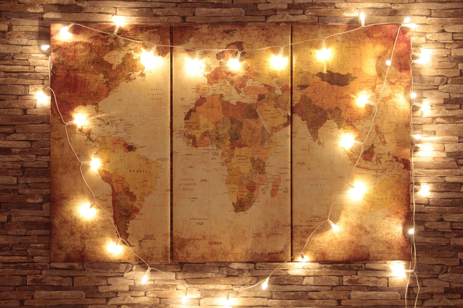 Fotoobraz wieloczęściowy - Mapa Świata